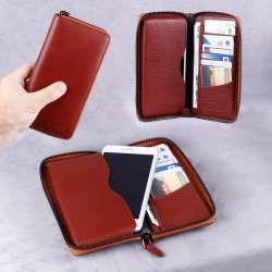 Telefon Hazneli Deri Kartlık ve Cüzdan