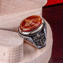Tuğra İşlemeli Akik Taşlı 925 Ayar Gümüş Yüzük