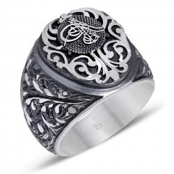 Tuğra İşlemeli Erzurum İşi Gümüş Yüzük