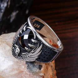 Kartal Pençesi Tasarım Siyah Zirkon Taşlı Gümüş Yüzük