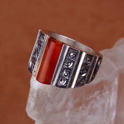 Turuncu Sıkma Kehribar Taşlı Erzurum El İşi Gümüş Yüzük