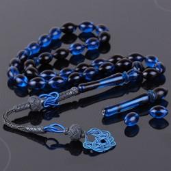 Yedek İmame ve Taneleriyle Gece Mavisi Sıkma Kehribar Tesbih