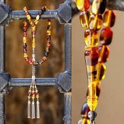 Yeni Tasarım Gümüş Kamçılı Kapsül Kesim Sıkma Kehribar Tesbih