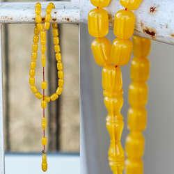 Yeni Tasarım Kapsül Kesim Sarı Sıkma Kehribar Tesbih