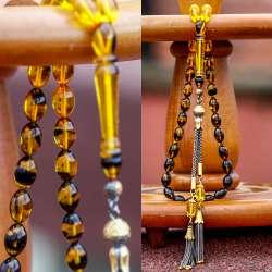 Yeni Tasarım Safran Sarısı Sıkma Kehribar Tesbih