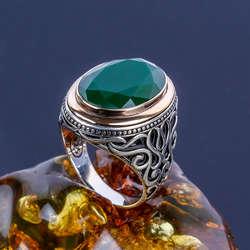 Yeşil Akik Taşlı 925 Ayar Gümüş Yüzük