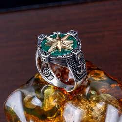 Yeşil Akik Taşlı Pusula 925 Ayar Gümüş Yüzük