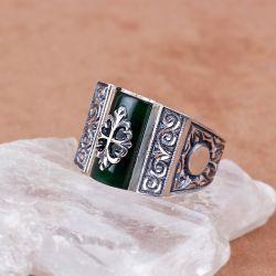 Yeşil Sıkma Kehribar Taşlı Erzurum El İşi Gümüş Yüzük