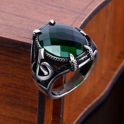 Yeşil Zirkon Taşlı Elif Vav 925 Ayar Gümüş Yüzük