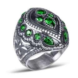 Yeşil Zirkon Taşlı Kalemkar İşi Sultan Yüzüğü