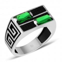 Yeşil Zirkon Taşlı Özel Tasarım Gümüş Yüzük