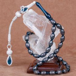 Yoğun Gümüş Kakmalı Mavi Sıkma Kehribar Tesbih